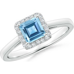 Classic Square Swiss Blue Topaz Halo Ring found on Bargain Bro Philippines from Angara Jewelry for $1309.00