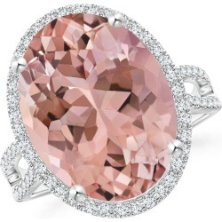 Oval Morganite Cocktail Ring with Diamond Halo found on Bargain Bro Philippines from Angara Jewelry for $5169.00
