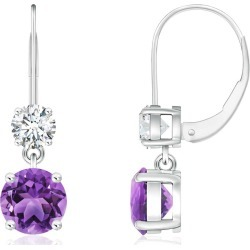 Round Amethyst Leverback Dangle Earrings with Diamond found on Bargain Bro India from Angara Jewelry for $1789.00