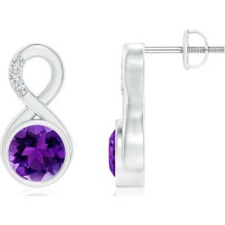 Bezel-Set Amethyst Infinity Stud Earrings with Diamonds found on Bargain Bro India from Angara Jewelry for $1009.00