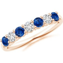 Half Eternity Seven Stone Sapphire and Diamond Wedding Band found on Bargain Bro India from Angara Jewelry for $1259.00
