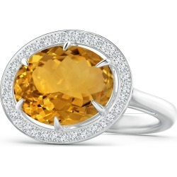 Horizontal GIA Certified Oval Citrine Ring with Diamond Halo found on Bargain Bro India from Angara Jewelry for $3649.00