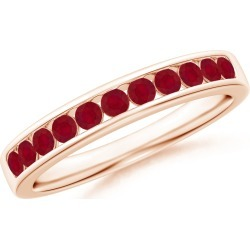 Channel Set Half Eternity Ruby Wedding Band found on Bargain Bro India from Angara Jewelry for $799.00