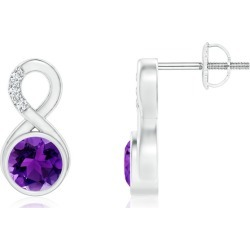 Bezel-Set Amethyst Infinity Stud Earrings with Diamonds found on Bargain Bro India from Angara Jewelry for $1749.00