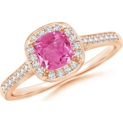 Classic Cushion Pink Sapphire Ring with Diamond Halo found on Bargain Bro Philippines from Angara Jewelry for $1689.00