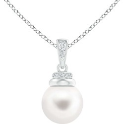 Freshwater Pearl Dangle Pendant with Diamonds found on Bargain Bro India from Angara Jewelry for $209.00