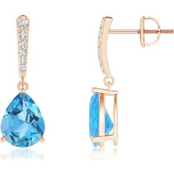 Solitaire Swiss Blue Topaz Drop Earrings with Diamonds found on Bargain Bro India from Angara Jewelry for $869.00