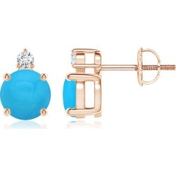 Basket-Set Round Turquoise Stud Earrings with Diamond found on Bargain Bro India from Angara Jewelry for $1109.00