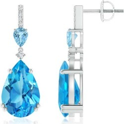 Pear-Shaped Swiss Blue Topaz and Aquamarine Drop Earrings found on Bargain Bro India from Angara Jewelry for $2139.00