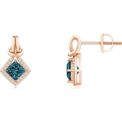 Princess-Cut Blue Diamond Love Knot Earrings found on Bargain Bro from Angara Jewelry for USD $440.04
