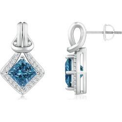 Princess-Cut Blue Diamond Love Knot Earrings found on Bargain Bro from Angara Jewelry for USD $4,513.64