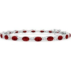 Semi Bezel-Set Oval Ruby and Diamond Tennis Bracelet found on Bargain Bro Philippines from Angara Jewelry for $9689.00