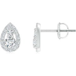 Diamond Stud Earrings with Pear-Shaped Frame