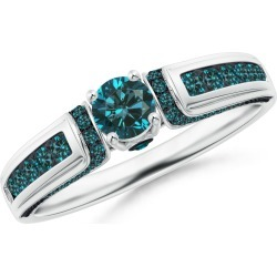 Vintage Inspired Round Blue Diamond Engagement Ring found on Bargain Bro from Angara Jewelry for USD $782.04