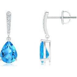 Solitaire Swiss Blue Topaz Drop Earrings with Diamonds found on Bargain Bro India from Angara Jewelry for $829.00