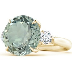 Classic GIA Certified Round Green Amethyst (Prasiolite) Three Stone Ring found on Bargain Bro India from Angara Jewelry for $6319.00