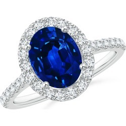 Oval Sapphire Halo Ring with Diamond Accents found on Bargain Bro India from Angara Jewelry for $6709.00