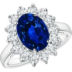 Princess Diana Inspired Blue Sapphire Ring with Diamond Halo found on Bargain Bro India from Angara Jewelry for $15859.00