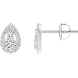 Diamond Stud Earrings with Pear-Shaped Frame
