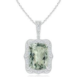 GIA Certified Rectangular Cushion Green Amethyst (Prasiolite) Pendant found on Bargain Bro India from Angara Jewelry for $4399.00