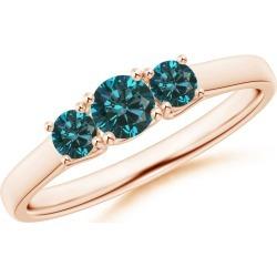 Three Stone Round Blue Diamond Engagement Ring found on Bargain Bro from Angara Jewelry for USD $470.44