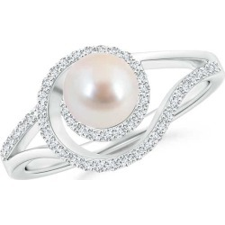 Akoya Cultured Pearl Spiral Halo Ring with Diamonds