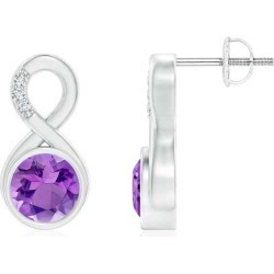 Bezel-Set Amethyst Infinity Stud Earrings with Diamonds found on Bargain Bro India from Angara Jewelry for $1539.00