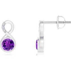 Bezel-Set Amethyst Infinity Stud Earrings with Diamonds found on Bargain Bro India from Angara Jewelry for $519.00