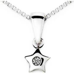 Diamond Star Pendant in 18k White Gold