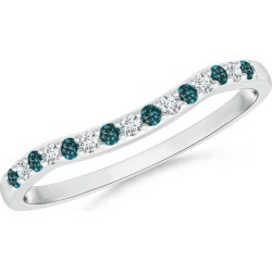 Round Blue and White Diamond Contour Wedding Band found on Bargain Bro from Angara Jewelry for USD $713.64