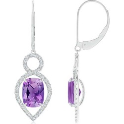 Cushion Amethyst Infinity Drop Earrings with Diamonds found on Bargain Bro India from Angara Jewelry for $1569.00