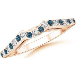 Round Enhanced Blue and White Diamond Curved Wedding Band found on Bargain Bro India from Angara Jewelry for $709.00