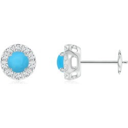 Turquoise Stud Earrings with Bar-Set Diamond Halo found on Bargain Bro Philippines from Angara Jewelry for $1129.00