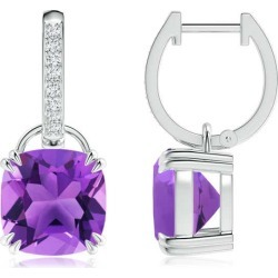 Cushion Amethyst Drop Earrings with Diamond Accents found on Bargain Bro India from Angara Jewelry for $1359.00