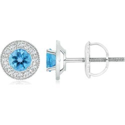 Swiss Blue Topaz Margarita Stud Earrings with Diamond Halo found on Bargain Bro India from Angara Jewelry for $1369.00
