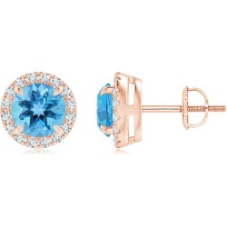 Claw-Set Swiss Blue Topaz and Diamond Halo Stud Earrings found on Bargain Bro India from Angara Jewelry for $689.00