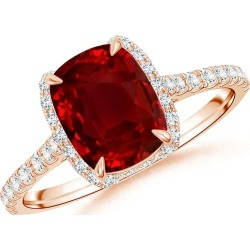Cushion Ruby and Diamond Half Halo Ring (GIA Certified Ruby) found on Bargain Bro Philippines from Angara Jewelry for $20509.00