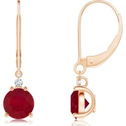 Ruby and Diamond Leverback Drop Earrings found on Bargain Bro India from Angara Jewelry for $2559.00