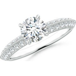 Diamond Solitaire Knife Edge Engagement Ring with Accents found on Bargain Bro India from Angara Jewelry for $6629.00
