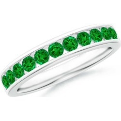 Channel Set Half Eternity Emerald Wedding Band found on Bargain Bro India from Angara Jewelry for $1519.00