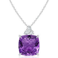 GIA Certified Cushion Amethyst Pendant with Trio Diamonds found on Bargain Bro India from Angara Jewelry for $4069.00