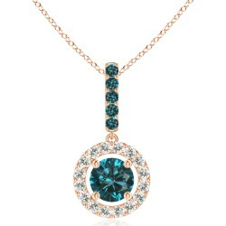 Round Blue Diamond Floating Halo Pendant found on Bargain Bro from Angara Jewelry for USD $660.44