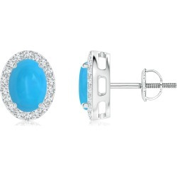 Oval Turquoise Studs with Diamond Halo found on Bargain Bro India from Angara Jewelry for $1889.00