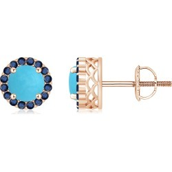 Round Turquoise and Sapphire Halo Stud Earrings found on Bargain Bro India from Angara Jewelry for $1319.00