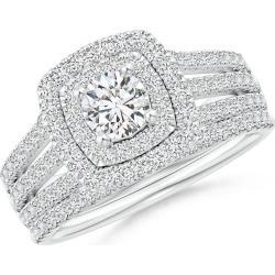 Pave-Set Cushion Halo Diamond Triple Shank Bridal Set