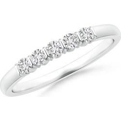 Floating Five Stone Bar-Set Diamond Wedding Band found on Bargain Bro India from Angara Jewelry for $859.00