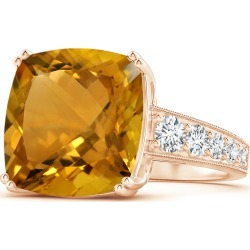 GIA Certified Cushion Citrine Solitaire Ring with Diamonds found on Bargain Bro India from Angara Jewelry for $4549.00