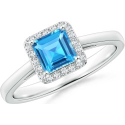 Classic Square Swiss Blue Topaz Halo Ring found on Bargain Bro Philippines from Angara Jewelry for $1689.00