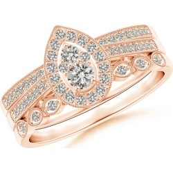 Bead-Set Composite Diamond Pear Halo Bridal Set