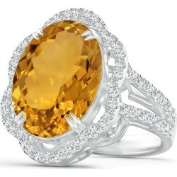 GIA Certified Oval Citrine Scalloped Halo Ring found on Bargain Bro India from Angara Jewelry for $4979.00